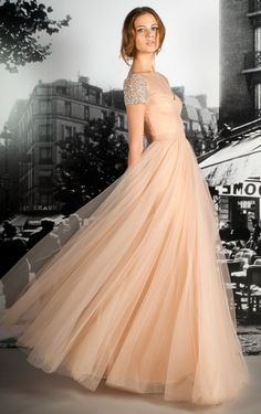 "Blush dress with same beading on the cap sleeves as on my wedding gown - I always love a ""tie in"" :)"