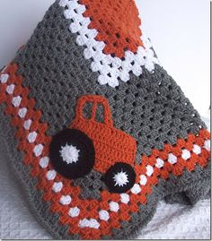 tractor blanket: Link leads to nothing but pinning for inspiration. Crochet a large granny square and a tractor. Neat.