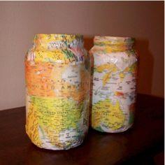 Do it yourself jar crafts and crafty diy candles diy mason jar map candle holders solutioingenieria Gallery