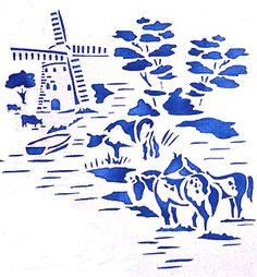 Toile Windmill and Horses Toile de Jouy Stencils