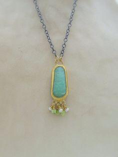Chrysoprase & 24k Gold Necklace Fine Gold Pendant by Omiya