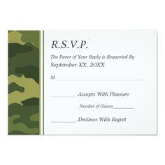 Camo Wedding Invitations Camo Military Wedding RSVP Card