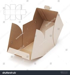 Empty Open Cube Box With Die Cut Template  Corazn