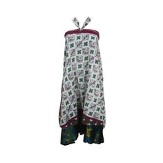 Womens Wrap Around Skirt Floral Printed Vintage Sarong Silk Sari Magic... ($26) ❤ liked on Polyvore