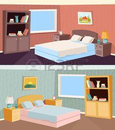 Appartement Cartoon Chambre Salon Interieur De La Maison Retro Vintage Background Illustration Vecteur