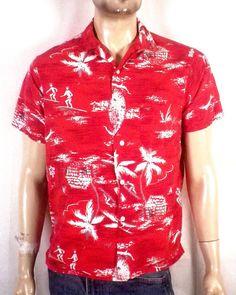 c80491cb vtg 50s Pilgrim rare 100% Rayon Novelty Surfer Theme Hawaiian Shirt  rockabilly M Vintage Hawaiian