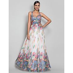 A-line/Princess Straps Floor-length Print Chiffon Evening Dress – EUR € 148.49