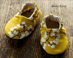 Ochre Branches -  Eco Friendly Baby Booties (6-12 months) Traction Soles