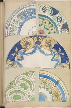 six Designs for Decorated Plates, 1845–55 Alfred Henry Forrester [Alfred Crowquill] (British, London 1804–1872 London) Patron: Probably commissioned by Samuel Alcock & Company (British, active ca. 1828–1859) Pen and ink, and watercolor, sheet: 42.5 x 29 cm The Metropolitan Museum of Art, 56.527(23)