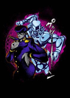 'Josuke Jojo Bizarre Advent' Metal Poster Print - Hyper Twenty   Displate Cartoon Games, Jojo Bizarre, Jojo's Bizarre Adventure, The Twenties, Anime Art, Poster Prints, Wallpaper, Metal, Artwork