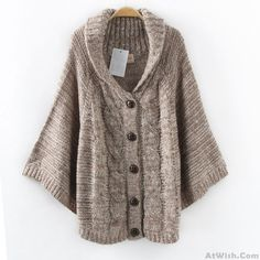 Wow~ Awesome Twist Lapel Batwing Sleeve Cape Cardigan Cweater Shawl Coat! It only $28.99 at www.AtWish.com! I like it so much<3<3!