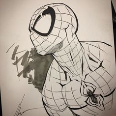 here - Marvel Comics Spiderman Kunst, Spiderman Drawing, How To Draw Spiderman, Spiderman Sketches, Marvel Drawings, Art Drawings Sketches, Cartoon Drawings, Drawing Superheroes, Comic Books Art