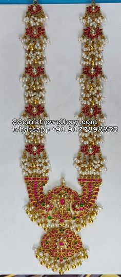 925 silver metal rice pearls kundan haram with large patakam pendant Pearl Necklace Designs, Beaded Jewelry Designs, Gold Jewellery Design, Bead Jewellery, Pearl Jewelry, Temple Jewellery, Silver Jewellery, Latest Jewellery, Pendant Jewelry
