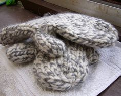 Maybe we should try and make these with the multicolored yarn I bought?...mittens....great tutorial for beginners