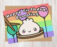 Happy Birthday Dumpling Dim Sum Card  Birthday by AlluringPrints