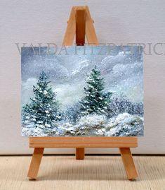 Falling Snow original oil painting miniature 3x4 by valdasfineart