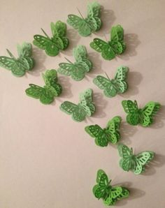 Shades Of Green 3D Butterflies by MonAmiePaperie on Etsy, $7.44