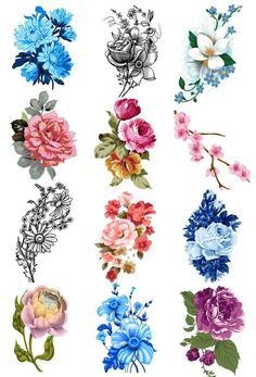 Vintage Flower Temporary Tattoo Set - Vintage Floral Tattoos by christian