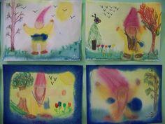 3rd grade painting/beeswax crayon art