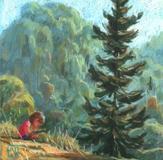 Who knew that channeling the storm in a 4 year olds eyes is as simple as adding art and nature. Location: Botanical Gardens Berkeley, CA Medium: Pastel on paper Size: 4 x 4 inches Pretty Drawings, Landscape Artwork, Environment Design, Picture Design, Art Reference, Illustrators, Cool Art, Concept Art, Artsy