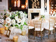 Natural greenery, white floral arrangements, gold Chiavari chairs, gold mercury glass, textured linen / Gladys Jem