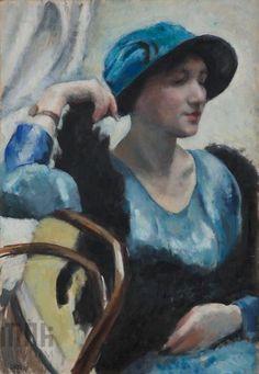 Wojciech Weiss, portrait of a lady in a blue dress, 1921