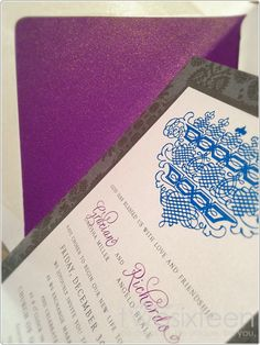 Majestic Purple & Blue Wedding Invitation by Studio Two Sixteen  www.studiotwosixteen.com