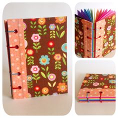 Caderno com costura copta em 2 cores (aparente). Acabamento em ilhós. Capa em tecido importado. Lomabada em tecido nacional. Miolo em papel 120g, com 12 cores, 48 folhas.