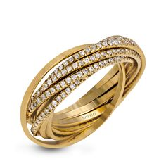 This 18k yellow gold rolling ring features a comfortable yet luxurious design set with .90 ctw of shining white diamonds.
