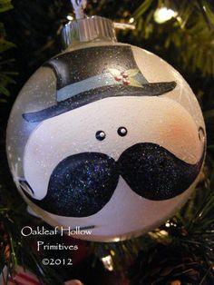mustache snowman ornament