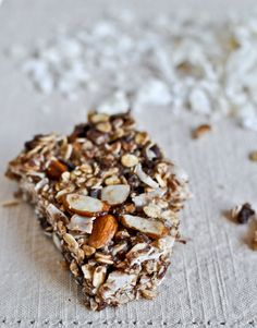 Chewy Coconut Granola Bars. :) Ingredients:  1 cup old-fashioned oats, 1 cup unsweetened flaked coconut, 1/2 cup raw sliced almonds, 1/2 cup raw whole almonds coarsely chopped, 1/2 cup ground flaxseed, 1 tablespoons whole wheat pastry flour, 1/4 teaspoon salt, 1 teaspoon vanilla extract, 1/3 cup packed + 1 tablespoon coconut oil, 1/2 cup honey, optional: 1/4 cup mini chocolate chips.