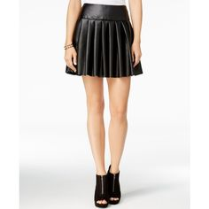 chelsea sky Pleated Faux-Leather Mini Skirt, ($60) ❤ liked on Polyvore featuring skirts, mini skirts, black, faux leather pleated skirt, short skirts, imitation leather skirt, pleated mini skirt and faux leather skirt