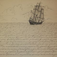 "Previous pinner:  ""Semblance"" This is an old sailor's ghost story written by my dear friend, Eleanor Perry-Smith than I penned in Spencerian script and illustrated."
