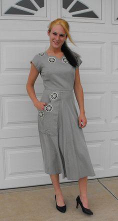Vintage 50s Dress Button Back Striped Floral Print by soulrust