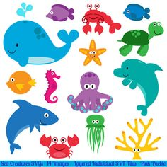 Sea Creatures SVGs, Fish Ocean Animals Cutting Templates - Commercial and Personal Use. $8.00, via Etsy.