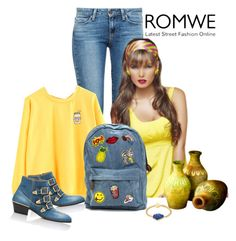 """Romwe yellow cartoon print sweatshirt"" by lorrainekeenan ❤ liked on Polyvore featuring Paige Denim, Chloé and Janna Conner"