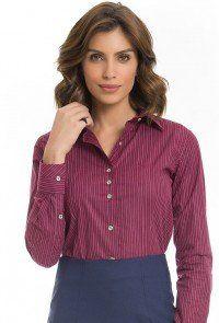 Camisas Femininas - Sua Moda Evangélica Feminina. camisa feminina listrada  bordo principessa via evangelica 67393d4d4eb