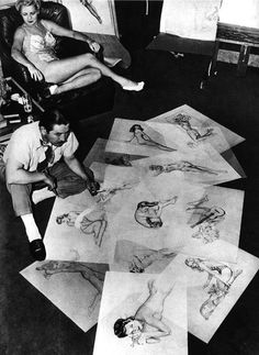 Alberto Vargas + Pin-up Model   Such beauty on his hands :)
