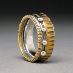 Carved Multi Metal Silver and Gold toned Brass Ring Size 8