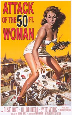 "Attack of the 50 Foot Woman 23x35 Movie Poster (1958). CAST: Allison Hayes, William (Bill) Hudson, Roy Gordon, Yvette Vickers, George Douglas, Ken Terrell, Michael Ross, Frank Chase, Eileen Stevens, Otto Waldis; DIRECTED BY: Nathan (Hertz) Juran; PRODUCER: Allied Artists;  Features:    23"" x 35""   Packaged with care - ships in sturdy reinforced packing material   Made in the USA  SHIPS IN 1-3 DAYS"