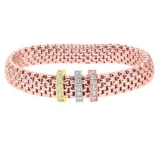 Citerna Plated Silver Mesh Stretch Bracelet with 3 Tone Cubic Zirconia Charms