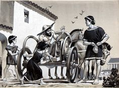 Merchant selling items off the back of a chariot in ancient Roman times by Angus McBride