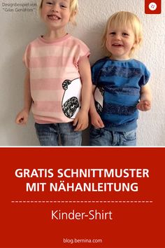 Sewing instructions with pattern for a basic children's shirt - Schnittmuster kostenlos Baby & Kind Freebooks - Camisetas Sewing Patterns Free, Free Sewing, Dress Patterns, Pattern Sewing, Knit Baby Dress, Belted Shirt Dress, Sewing For Kids, Diy For Kids, Petal Sleeve