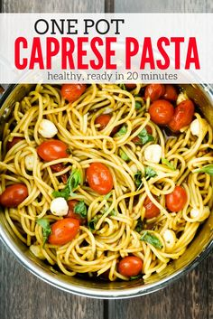This twenty minute One Pot Caprese Pasta packed with cherry tomatoes, mozzarella cheese, fresh basil, and balsamic vinegar is the perfect weeknight dinner. This healthy recipe from Slender Kitchen is MyWW SmartPoints compliant and vegetarian. #dinner #kidfriendly #quickandeasy