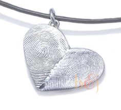 Sterling Silver Custom Double Thumbprints Heart door fabuluster