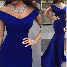Robe De Soiree 2017 Royal Blue Evening Dresses Long Mermaid V-Neck Real Photos Charming Formal Evening Gowns Cheap Free Shipping