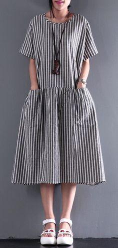 4f9dfec4a688 2017 new summer linen dress elastic waist sundresses casual oversize maxi  dress  stylish trendy