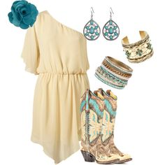 A fashion look from December 2013 featuring short dresses, cowboy style boots and cuff bangle. Browse and shop related looks. Mode Country, Estilo Country, Country Style, Country Girls Outfits, Girl Outfits, Fashion Outfits, Look Fashion, Girl Fashion, Womens Fashion
