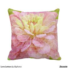 """Love Letters Cushion"" design by Kay Novy (kkphoto1) #pillow #throw #floral #flower #pink #green #photography #KayNovy #kkphoto1"