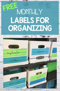 These FREE monthly labels are a great way to get your elementary classroom organized this school year! These labels can help you organize groups, lessons, station resources and more! Learning Stations, Fun Learning, Learning Activities, Teaching Kids, Teacher Organization, Organizing Labels, Organising, Classroom Labels, Classroom Decor
